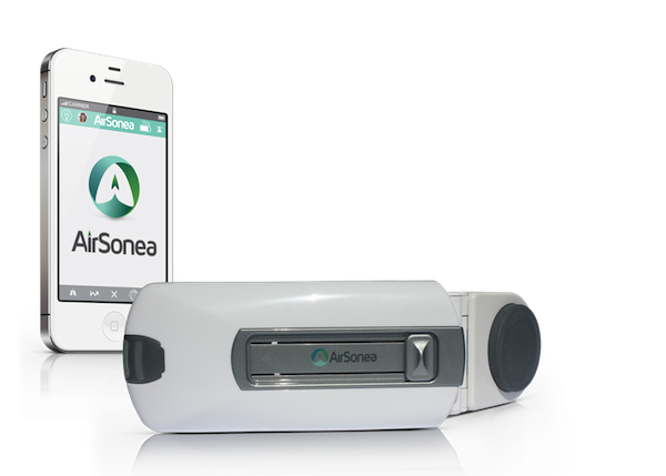 AirSonea wheeze rate monitoring device. Photo courtesy: iSonea